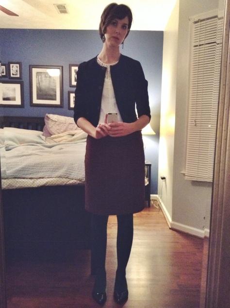 Spruced up. [Target velvet jacket, Target white blouse, Ann Taylor Loft plaid skirt, Target green tights, Target black patten leather flats]
