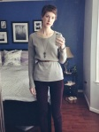 a favorite outfit: gray Gap sweater, burgundy Gap skinny cords & faux leather H&M skinny belt