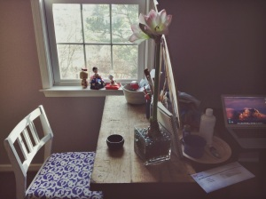 my work table by the window, overlooking the garden and town