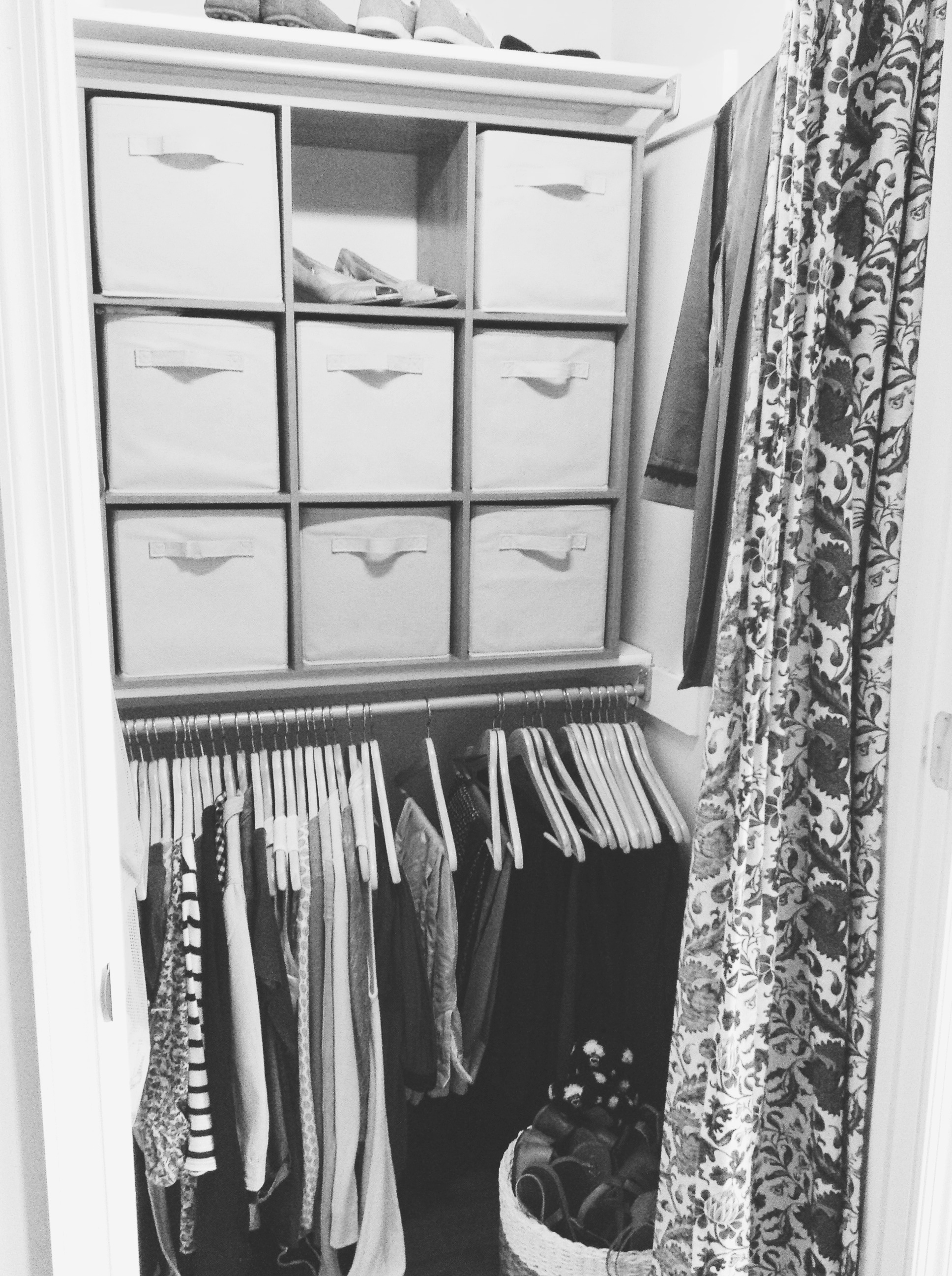 Reorganized closet with maternity clothes that fit this gangly body and bulging bump.