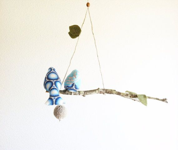 An excellent find from Etsy - completely handmade bird mobile.