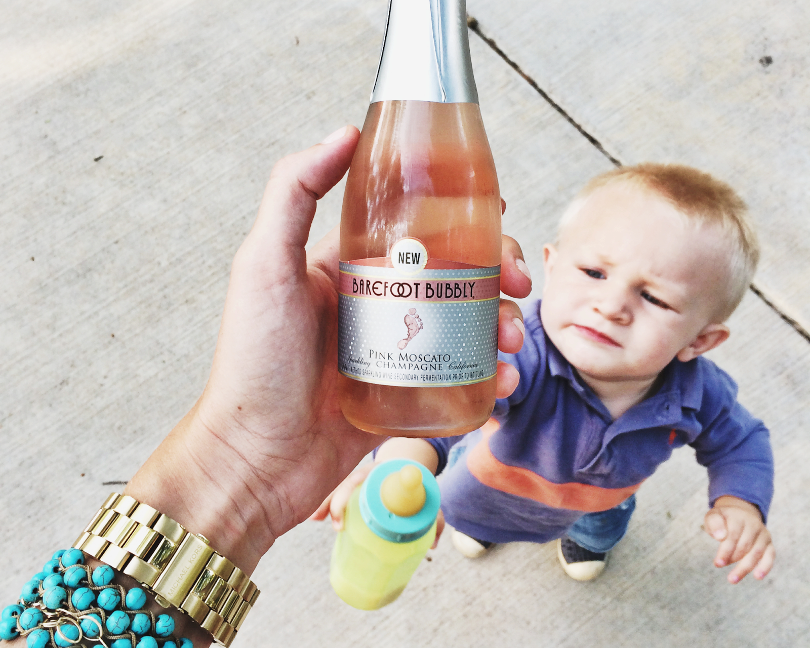 """'When kids outgrow falling for the old, """"pretend to pour a little in their bottle"""" trick ... I laugh and cry. Theo didn't buy my faux pouring sounds for a second. Stop maturing, dear boy.'"""